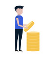 a man collects coins vector image vector image