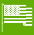 american flag icon green vector image vector image