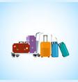 baggage on airport luggage cart cartoon