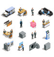 bank elements isometric icons set vector image vector image