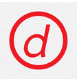 basic font letter d icon design vector image vector image