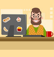 bearded man in the office vector image