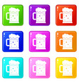 beer mug icons 9 set vector image vector image