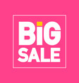 big sale flat design label on pink background vector image vector image