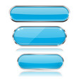 blue glass 3d buttons with chrome frame oval vector image vector image