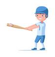 boy baseball player hits a bat ball vector image vector image