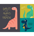 card with cute dino vector image