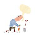 cartoon gardener with speech bubble vector image