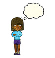 cartoon impatient woman with thought bubble vector image vector image