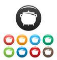 cauldron icons set color vector image