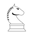 chess horse game symbol in black and white vector image
