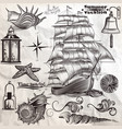 collection of antique elements sea rest vector image vector image