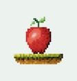 color pixelated apple fruit in meadow vector image