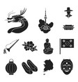 country south korea black icons in set collection vector image