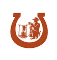 cowboy drinking coffee horseshoe mascot vector image vector image