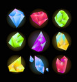 crystals or sparkling gemstones vector icons set vector image