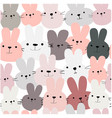 cute funny rabbit bunny head seamless pattern vector image vector image
