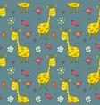 cute giraffe seamless pattern cartoon hand drawn vector image vector image