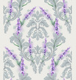 damask ornament and lavender pattern delicate vector image vector image