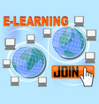 e-learning banner with group of computers around vector image vector image