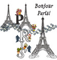 eiffel tower and potters fully of flowers vector image