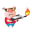 emoji character pig with flamethrower vector image