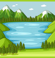 empty green nature scene with lake vector image