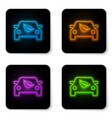 glowing neon eco car concept drive with leaf icon vector image vector image