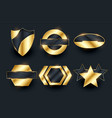 golden empty badge labels elements collection vector image