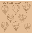 Hot air balloons in flight engraving sketch vector image vector image