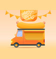 hot dog food truck concept banner cartoon style vector image vector image