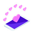 isometry is a bright love concept with hearts vector image