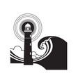 lighthouse graphic poster with huge sea waves vector image