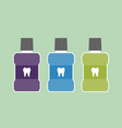 mouthwash bottle with a tooth on label vector image vector image