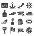 pirates icons set sabre hook old ship spyglass vector image