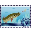 Postage stamp The hunt for pike vector image vector image