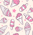 retro color pattern of pink ice creams on vector image vector image