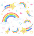seamless rainbow with smile star on white vector image vector image