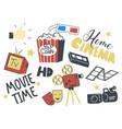 set icons home cinema theme retro camera vector image
