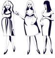 Set of black and white young pregnant women vector image vector image