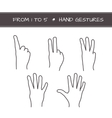 Set of isolated sketches of hands with count from vector image vector image