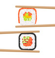 set of yummy colored sushi rolls with chopsticks vector image