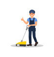 smiling man cleaning floor with scrubber machine vector image vector image