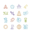 Spase Outline Colorful Icons Set vector image