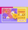 summer sale banner with paper flowers on a light vector image vector image