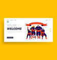 super family landing page template characters vector image vector image