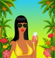 tropical island girl vector image vector image
