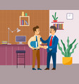 two businessman handshake good deal concept vector image