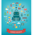 vacation icons set summer holidays travel and vector image vector image