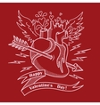 Valentines day card with human heart and arrow vector image